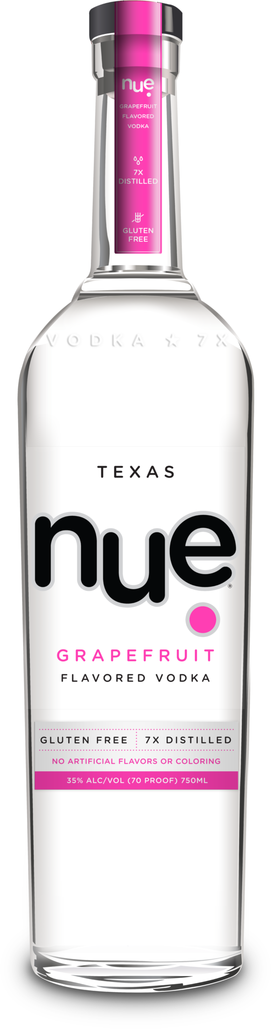 Bottle of nue grapefruit vodka