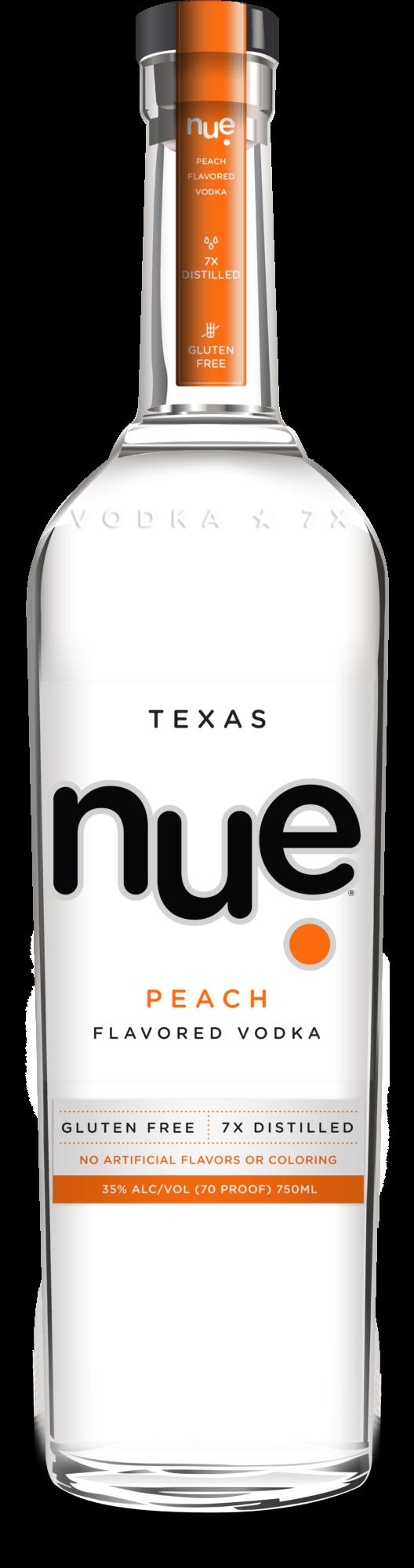 Bottle of nue peach vodka